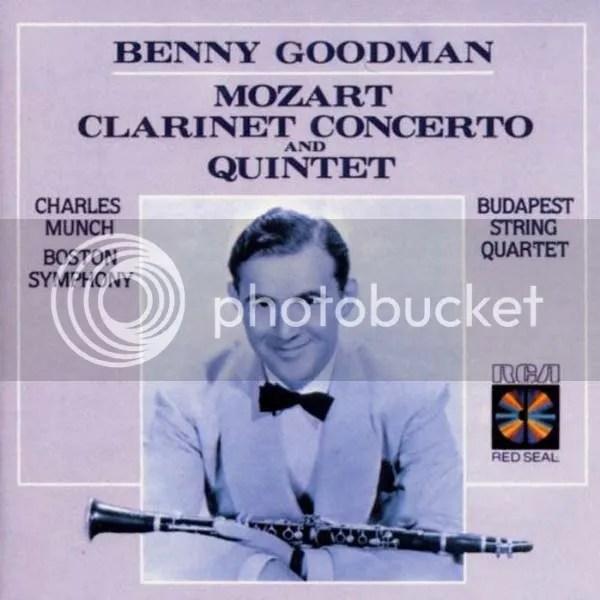 LP-Cover Mozart, Benny Goodman, Budapest Quartet, Clarinet Concerto and Quintet
