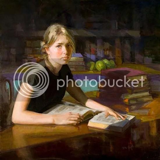 Liza. Never Enough Books. Rita Curtis. Oil on canvas, 2014