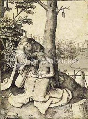Lukas van Leyden, Heilige Familie mit dem Apfel, ca. 1508