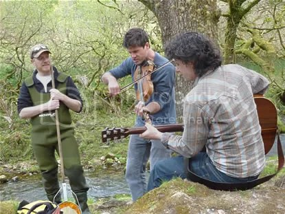 Seth and Sean Lakeman perform for a couple of fishermen at Burrator Reservoir, Dartmoor