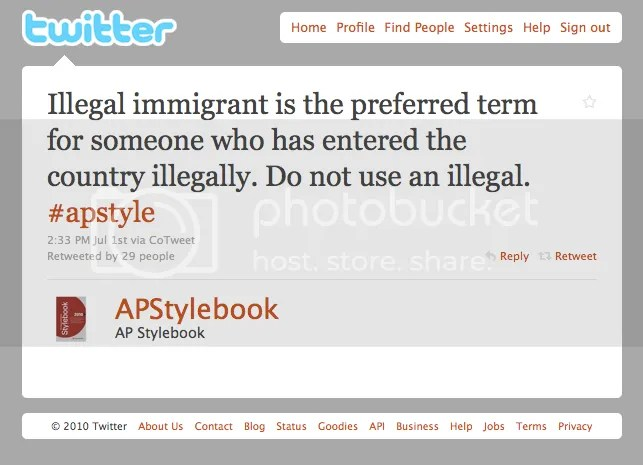 Associated Press Stylebook Tweet on immigration terminology.