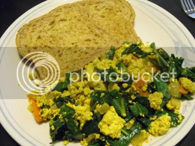 Tofu scramble brunch with carrots, collard greens and Ezekiel toast ...