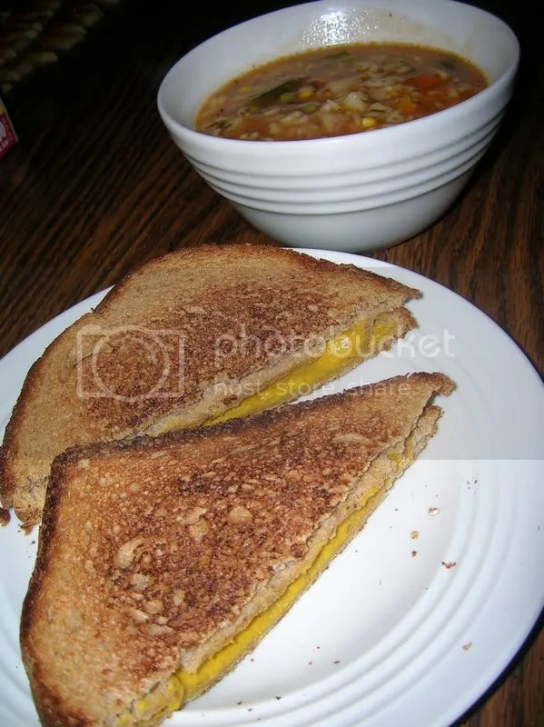 Grilled Cheez & Alphabet Soup