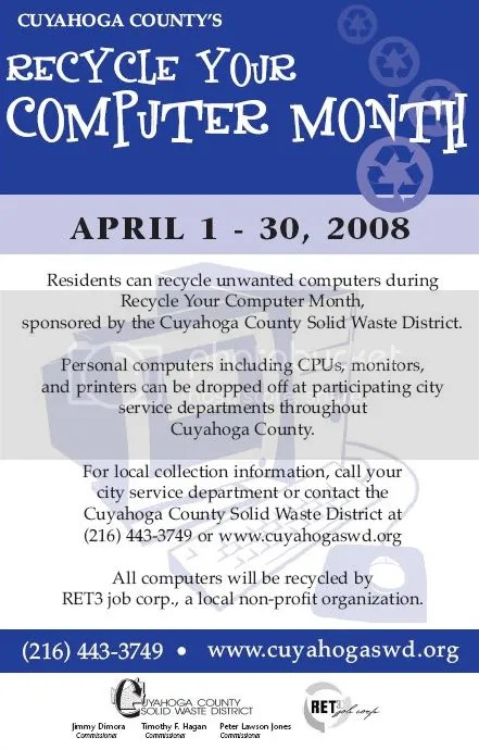 Recycle Your Computer Month flyer