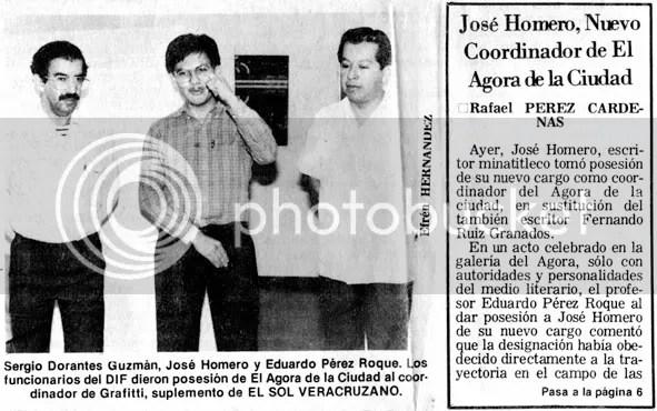 Noticia en la portada de El Sol Veracruzano anunciando la designación de José Homero