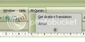 Menu Al Quran dalam Ms Word