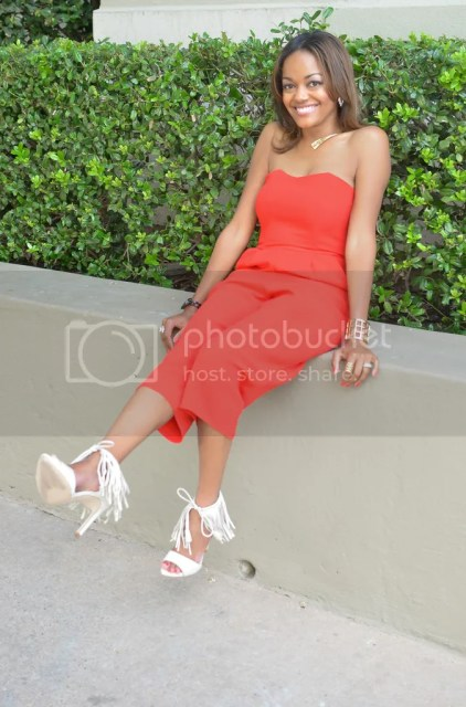 jumpsuit, asos jumpsuit, red jumpsuit, red culottes, fringe heels, fringe sandals, zara shoes, dallas blogger, fashion blogger, black fashion blogger, detroit blogger, bauble bar grid cuff, summer trend, summer