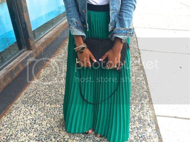 fashion, style, fashion blogger, blog, fashion blog, black fashion blog, dallas fashion blogger, maxi skirt, denim jacket, bcbg sandals, colorful maxi skirt, spring fashion, arm candy, arm party, arm stack, metallic shoes, black clutch, h&m clutch, rocksbox jewelry, fashion diaries, mom and fashion