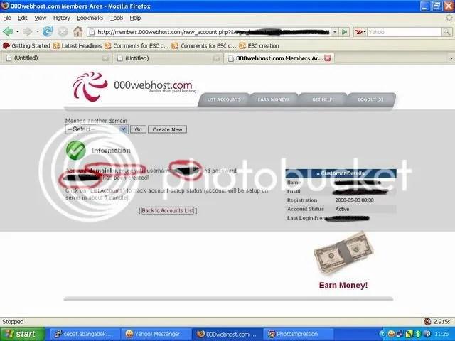Pengaturan pada hosting 000webhost