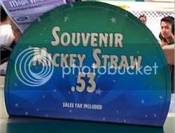 Souvenir Mickey Straw sign