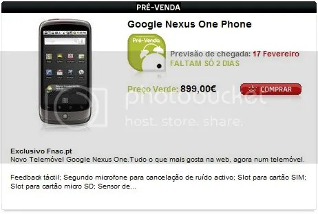 Nexus One à venda na FNAC