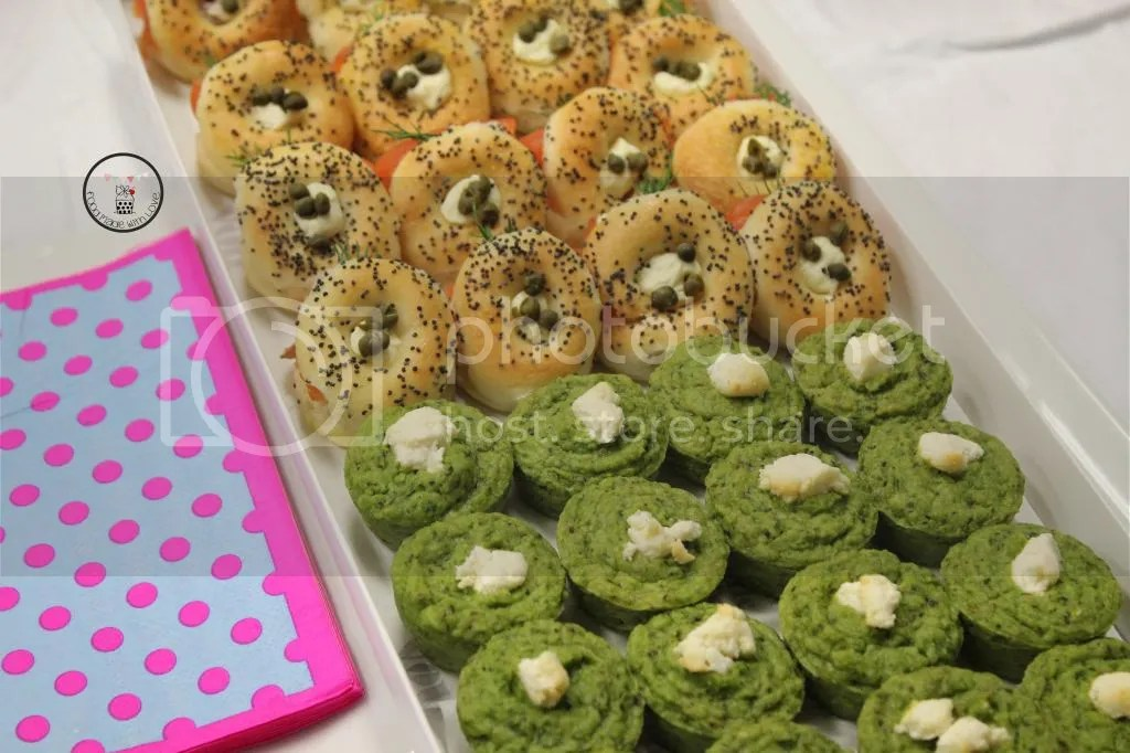 mini smoked salmon bagels and pea tarts