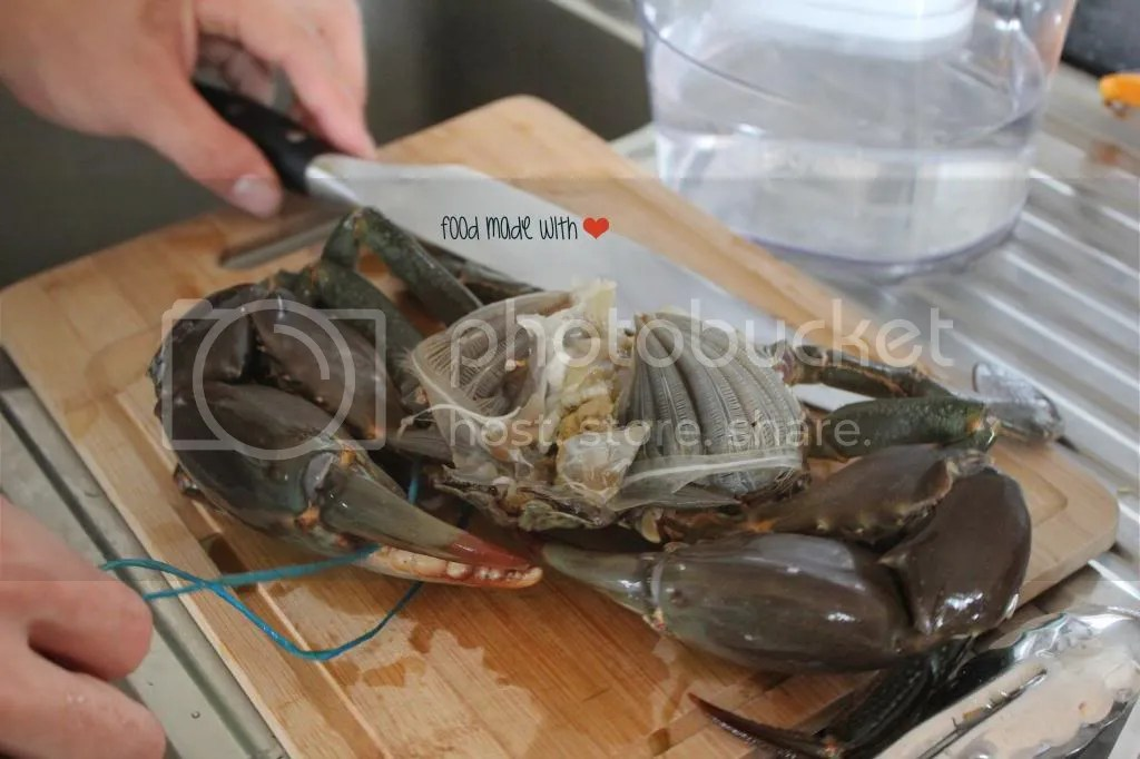 cleaning the crab