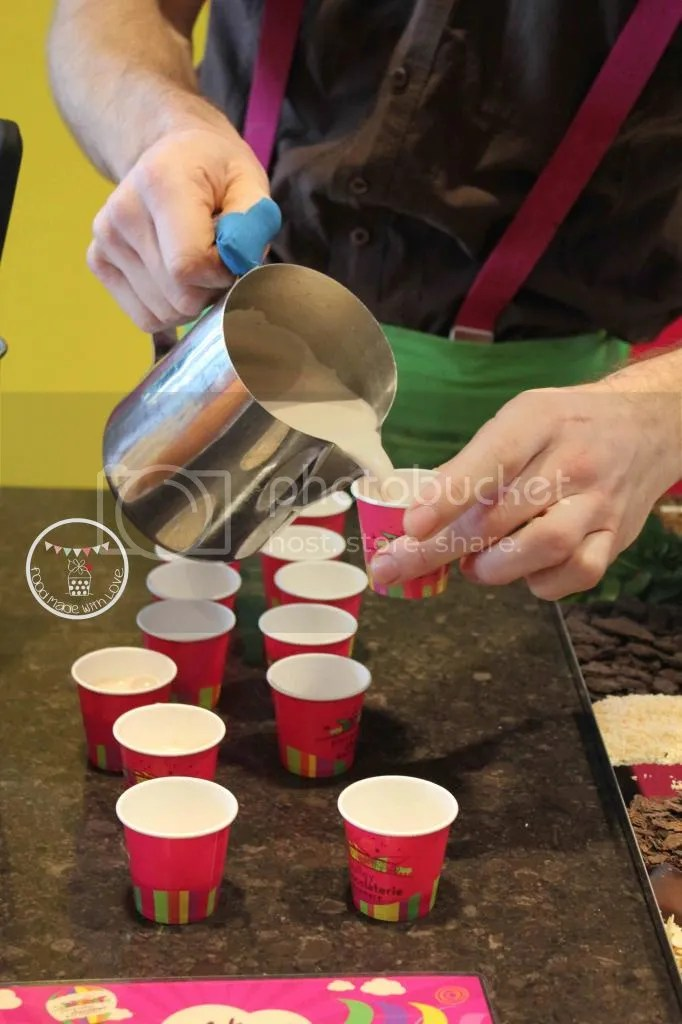 Pouring the hot chocolate