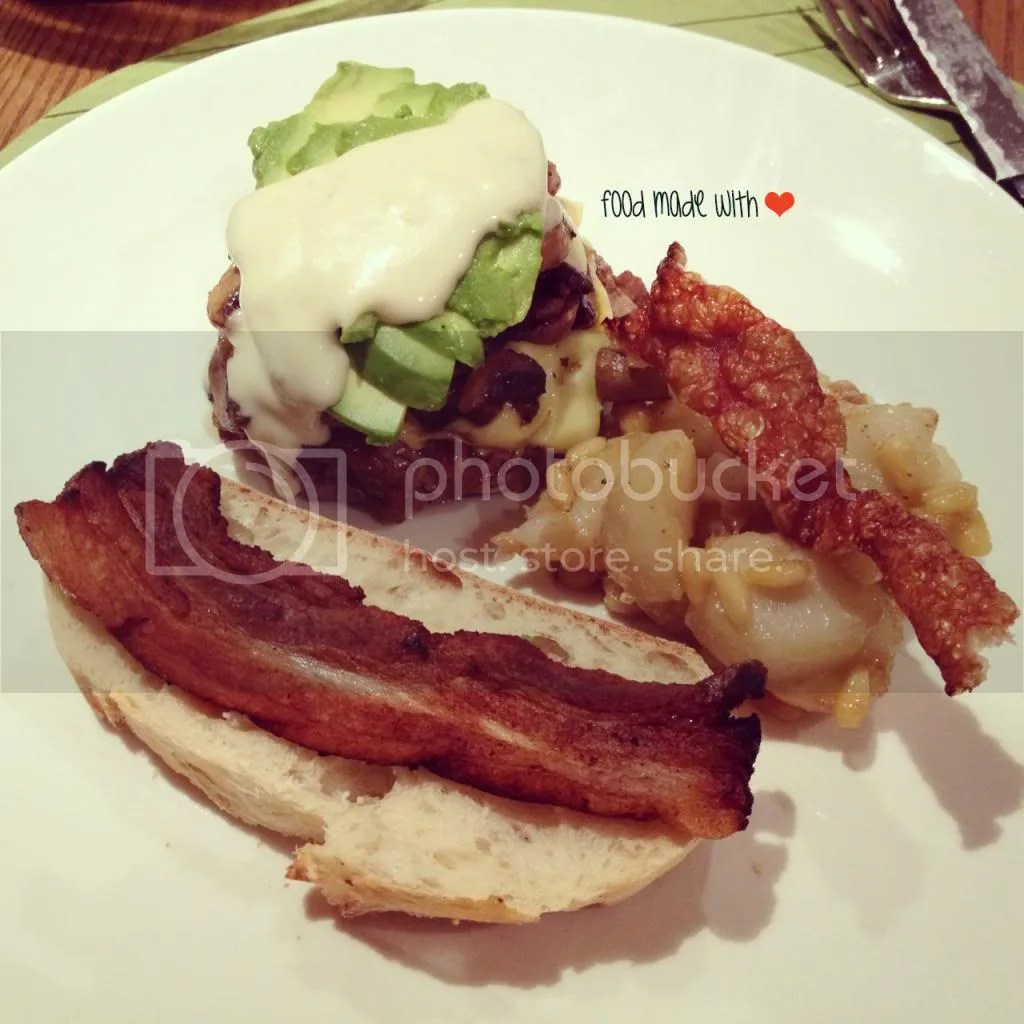 Open homemade beef patty sandwich with homemade thick-cut bacon