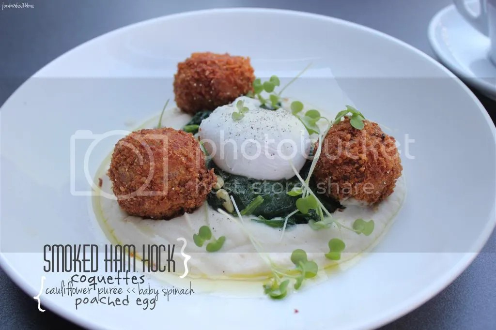Smoked ham hock coquettes with cauliflower puree, baby spinach and a poached egg