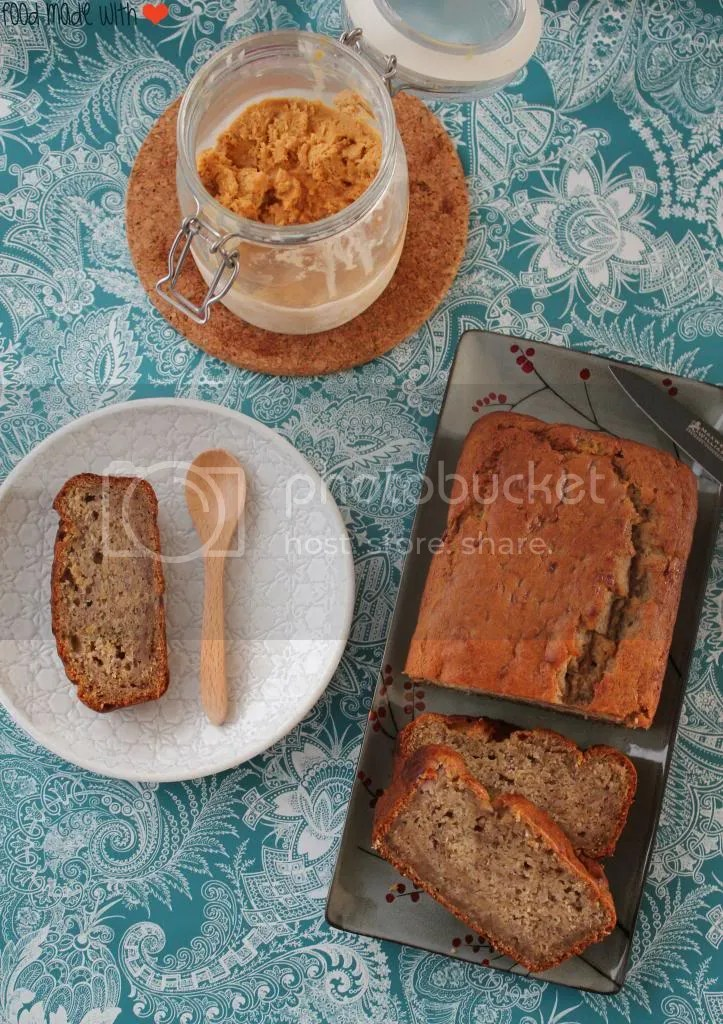 eggless and vegan banana bread with salted caramel ice cream
