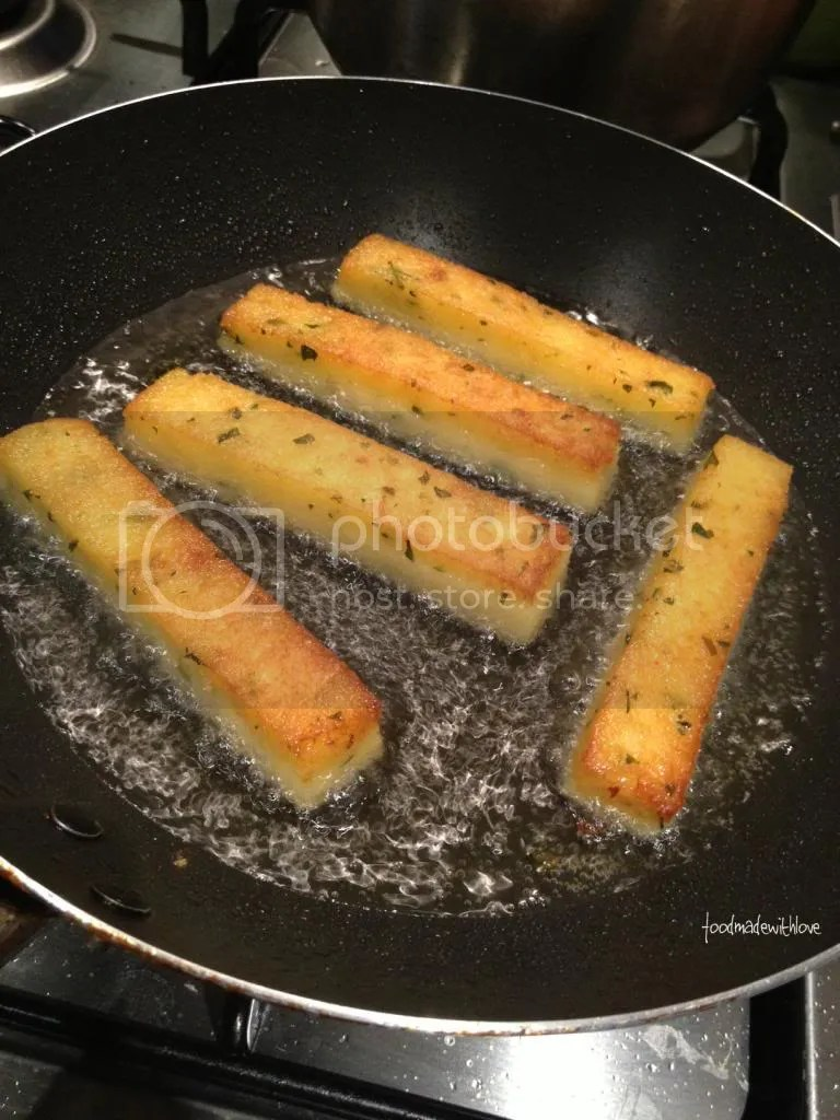 Frying the polenta chips