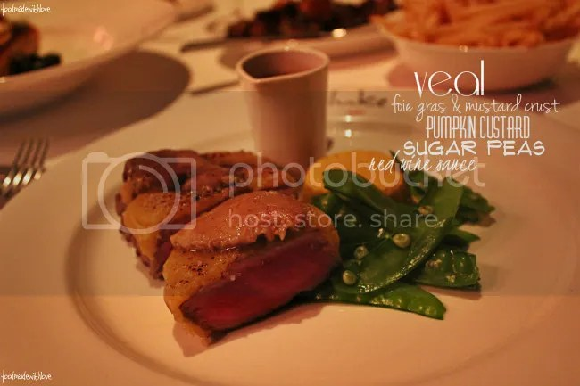 Veal with foie gras and mustard crust