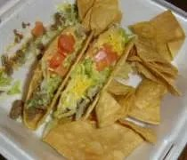 Two tacos and chips from Andys Mexican & American Deli in Holt