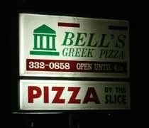 Bells Greek Pizza on E. Grand River near the campus of Michigan State