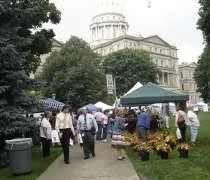 The Select Michigan Capitol Lawn Farmers Market in the shadow of the Capitol Building.