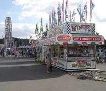 More food vendors with the ferris wheel in the background at the Ingham County Fair in Mason.