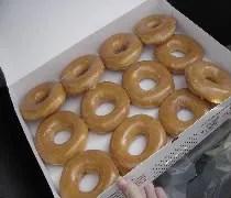 A dozen glazed doughnuts from Krispy Kreme in Midlothian, IL