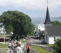 Looking down the hill towards Main Street and the harbor.