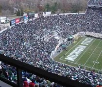 A full endzone at Spartan Stadium in East Lansing