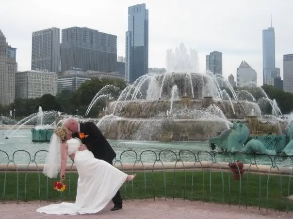 One Picture of J and I....this one in front of Buckingham Fountain in Chicagos Grant Park.