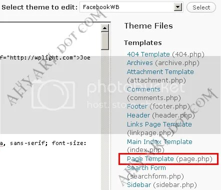 Contoh file Page Template