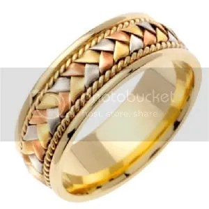 Woven Handmade 14K TriColor Gold Band