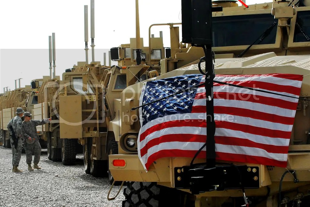Mine-resistant, ambush-protected vehicles sit in a row on the Camp Liberty, Iraq, fielding site, Feb. 20, 2009. The day marked the introduction of the 10,000th vehicle into Iraq. U.S. Army photo by Spc. Christopher Gaylord