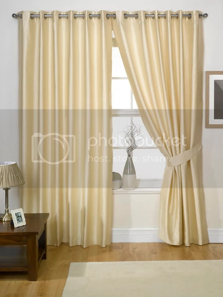 PAIR OF FAUX SILK CURTAINS Eyelet Ring Top EBay