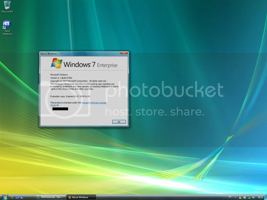 Desktop do Windows 7 M3