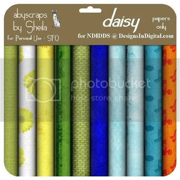 abyscraps Daisy kit papers only preview