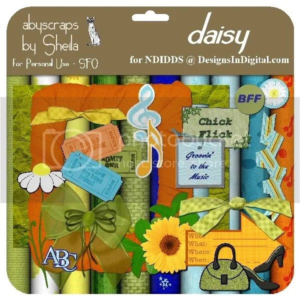 abyscraps Daisy freebie kit preview