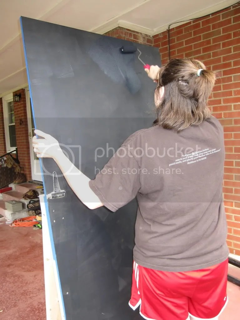 Heres Beans in action doing some serious painting - we did pretty well, if I do say so myself.