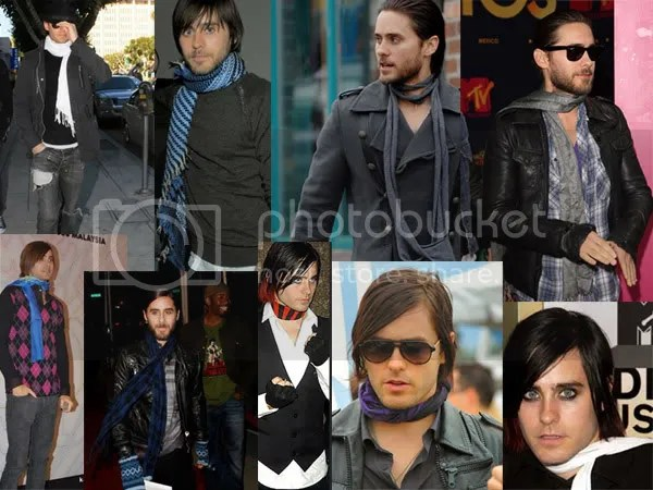 The man loves his scarves. Many, many scarves.