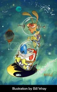 Bill Wray\'s drawing of Ren And Stimpy in spacesuits