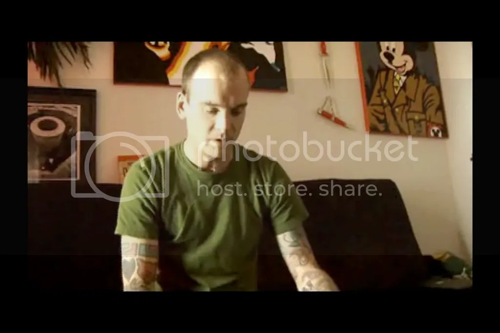 Matt Skiba of Alkaline Trio with Mickey Mouse as Hitler Artwork