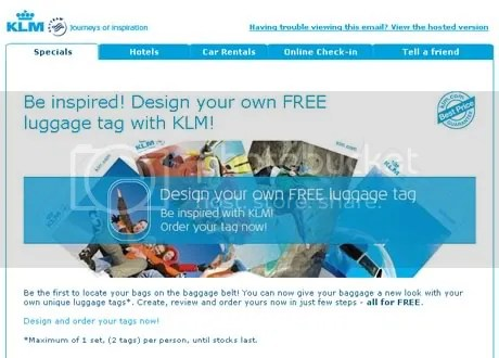 klm FREE luggage tag ad