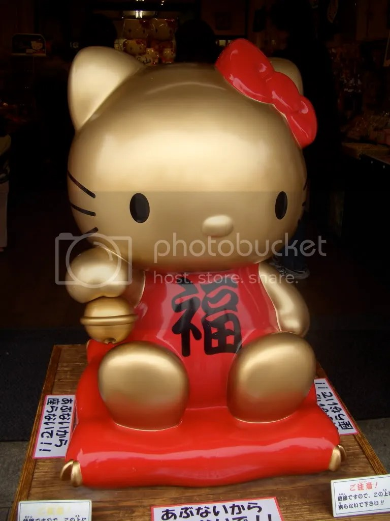 Hello Kitty tries to bring some luck and money to this store