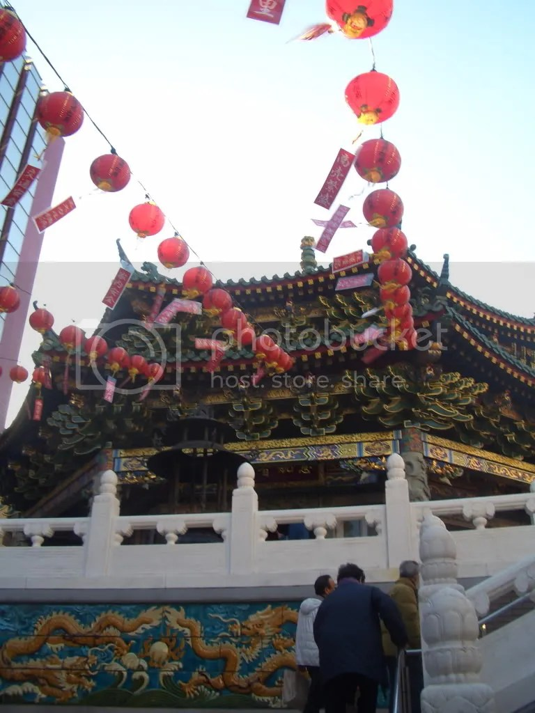 Temple decked out in lanterns