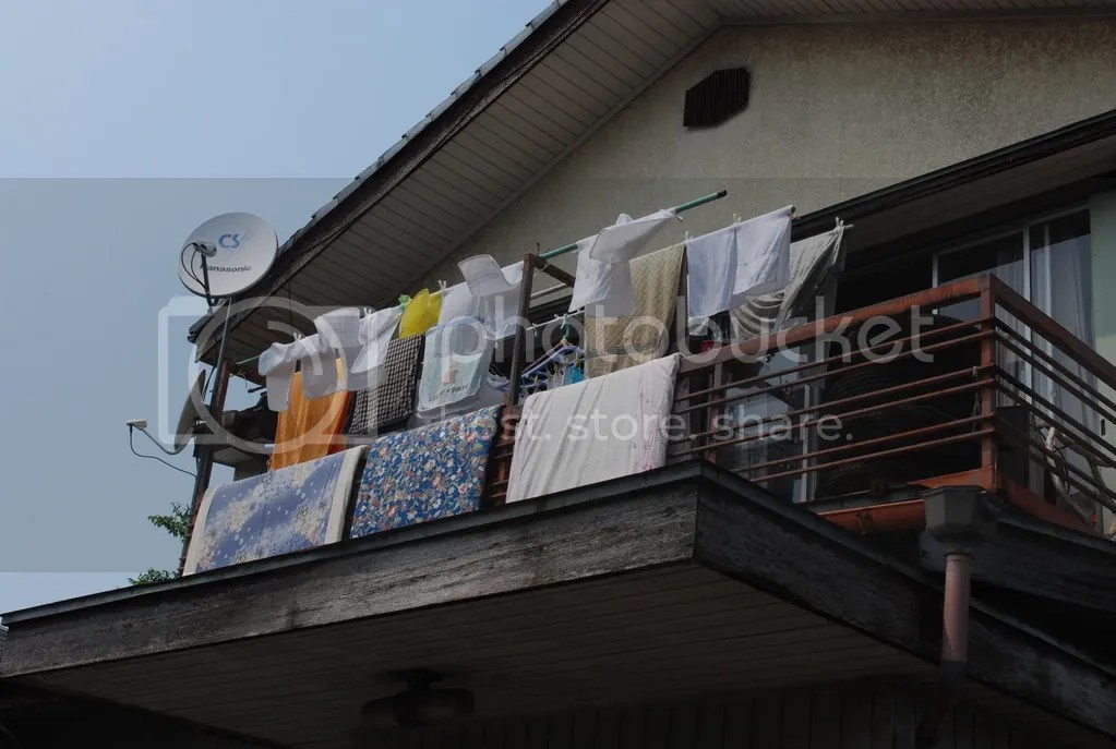 Laundry hung out to dry on a balcony