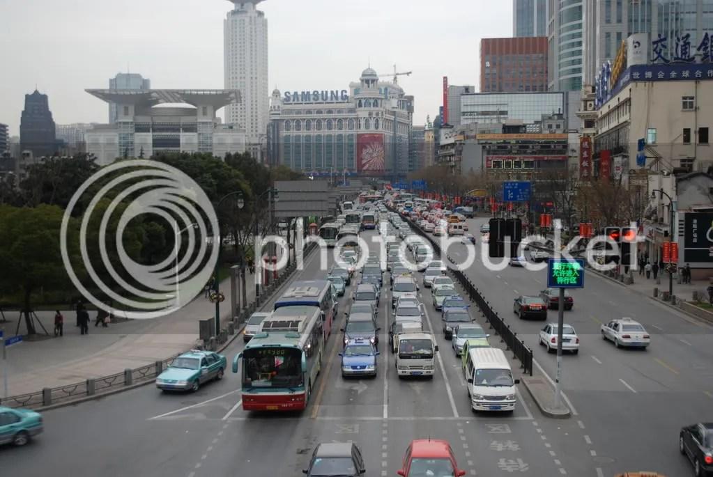Wide, busy Shanghai street