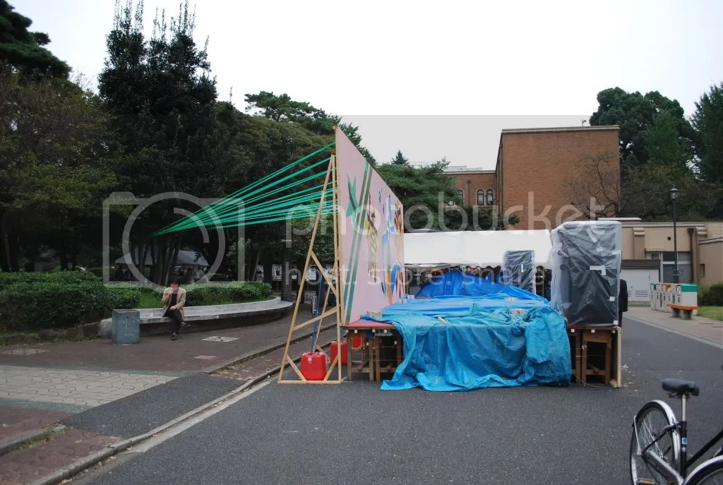 In preparation for the school festival, a stage set up in front of the West campus Co-op