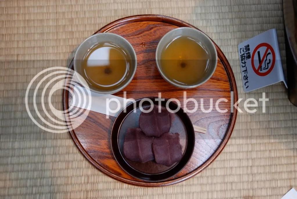 Aka Fuku mochi and our tea. It makes a face!