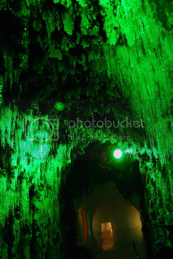 Inside a cave in the light up